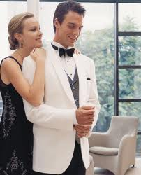 The less formal white dinner jacket is still an outstanding choice for dinner affairs.